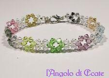 Idea regalo BRACCIALE BRACCIALETTO donna artigianale cristalli Swarovski chiaro