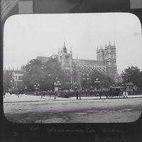 Magic Lantern Slide Vintage Westminster Abbey London Street Scene Social History