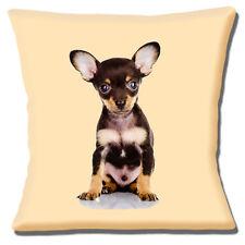 """Chihuahua Puppy Dog 16""""x16"""" 40cm Cushion Cover Cute Black Tan Photo Print Cream"""