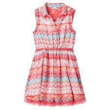 Girls Knitworks Chiffon Skater Shirtdress Coral Aqua NWT MSRP $50 Size 18 1/2
