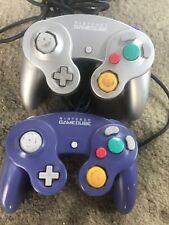 2 Lot Genuine OEM Nintendo GameCube Wii Controller Purple Indigo Silver Playinum