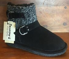 "NEW, Bearpaw, SZ 10, ""Nova"" Suede Wool-Lined Knit Booties, Sheepskin Footbed"