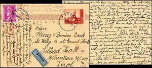 CR197. CROATIA STATE NDH POSTAL CARD FROM ZAGREB TO TIROL 1944 CENSORED