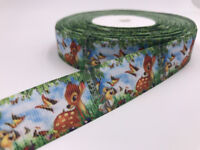 DIY 5 Yard 1'' 25mm Bambi Printed Grosgrain Ribbon Hair Bow Sewing Ribbon