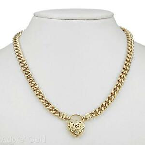 18K Yellow Gold GL Womens Solid Medium Euro Curb Necklace & Heart Clasp 55cm