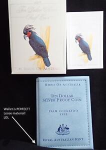 1993 BIRDS of AUSTRALIA PALM COCKATOO $10 SILVER COIN in WALLET MELB COIN FAIR