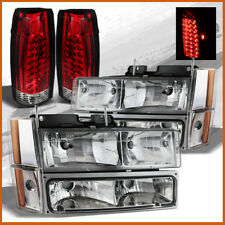 Fits 88-93 Chevy/GMC C/K Truck Headlights Full Set + Red Clear LED Tail Lights
