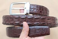 Luxury Dark Brown Genuine Alligator, Crocodile Leather Skin Men's Belt