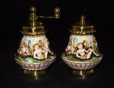 Capodimonte Cherubs Italian Porcelain Pepper Grinder & Salt Shaker Set, UNUSED