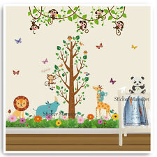 Monkey Animal Height Chart Wall Sticker Owl Jungle Nursery Baby Kids Room Decals