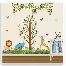 Monkey Animal Height Chart Wall Sticker Owl Jungle Nursery Baby Kids Room Decals