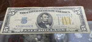 - $5 Series of 1934A Silver Certificate North Africa - Yellow Seal WWII