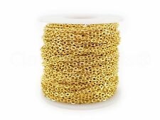 Cable Chain Spool - 100 Feet - Gold Color - 3x4mm Link - Rolo Bulk Roll