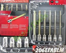 "New Snap On 3/8"" Long METRIC Ball Hex Bit Socket Driver 6 Pcs Set - 206EFABLM"