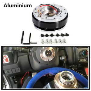 Universal 6-Hole Black Car Steering Wheel Quick Release Hub Adapter Snap Off Kit