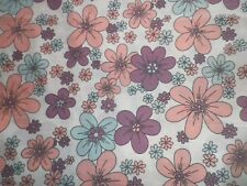 Vintage 1970's Poly-Cotton Fabric Retro Pink Blue Purple Floral Daisy Design