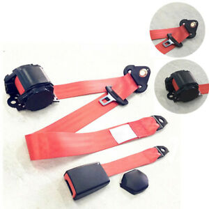 1pc Red Adjustable Seat Belt Car Truck Lap Belt Universal 3 Point Safety Travel