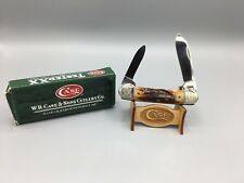 "2008 Case ""Mint Set"" Canoe Knife With Red Stag Handles Scrolled Mint Box - A24"