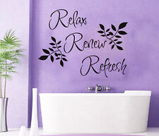 Relax Renew Refresh Vinyl Quote Wall Decor Home Art Sticker Bathroom Mural Decal