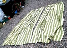 Large Heavy vintage Curtains Lined Triple Pinch green stripe 192cm w x 9ft drop