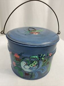 """Vintage Hand Painted Blue Metal Bucket with Lid 6"""" x 4.5"""""""