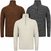 Tokyo Laundry Men's Wool Mix Funnel Neck Jumper Cable Knit Thick Sweater Zip Top