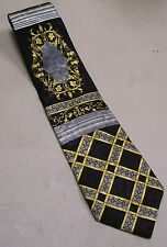 Carnaval De Venise Neck Tie Necktie Silk Italy Black Silver Gold Scrolls Checks