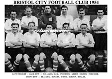 BRISTOL CITY F.C.TEAM PRINT 1954 (ROGERS/WHITE/GUY)