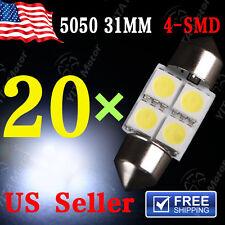 20 X White 31MM 5050 4SMD Festoon Dome Map Interior LED Light bulbs DE3175 3021