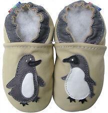carozoo cream penguin 6-12m C1 new soft sole leather baby shoes