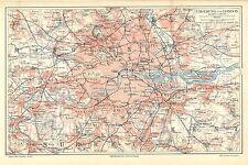 Historische Stadtkarte 1890 Umgebung von London. Stadtplan Großbritannien (M4)