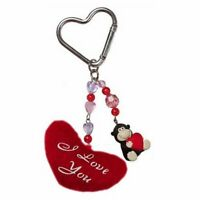 Russ Berrie Love & Kisses Gorilla Keychain with Plush Heart