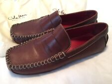 COLE HAAN COUNTRY Brown Red Leather Driving Moccasins 8 BRAZIL Stitch DUST COVER