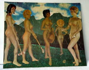 VINTAGE RISQUE PINUP HOLLYWOOD BEAUTIES NUDE NUDIST CAMP JIGSAW PUZZLE POSTER