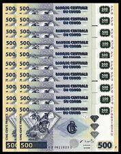 CONGO 500 FRANCS 2002 UNC 20 PCS CONSECUTIVE LOT P 96