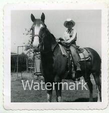 1950s snapshot b/w photo teen  boy on horse  cowboy