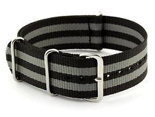 Nylon Watch Band Strap - James Bond SPECTRE Style - 22mm / Black Double Grey