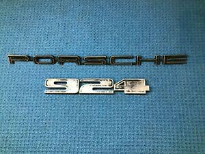 PORSCHE 924 77-78 OEM Rear Metal Emblems Lettering Black Rare Hatch Trunk Emblem
