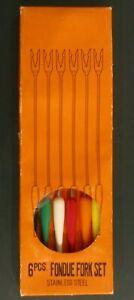 Vintage Mid Century Stainless Steel Fondue Forks Color Handles