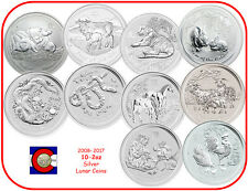 2008-2017 Australia Silver 2 oz Lunar Set 10 Coins (Mouse-Rooster)