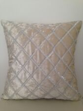 Beige Silver Diamond Stitch Suede Velvet Look Soft Pillow Cushion Cover 18""