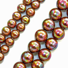 MAGNETIC PEARLIZED BEADS MULTI COLOR IRIDESCENT RAINBOW GOLD 6MM BEAD STRAND P3
