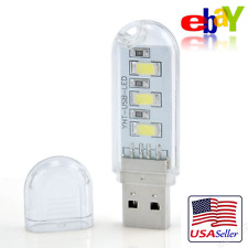 3 LED USB Lamp Light Bright White Mini Portable Night Light for Laptop Read