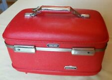 Vtg American Tourister Tiara Red Train Suit Case Hard Luggage Rose Satin Lining