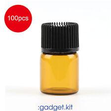 Empty 2ml dram Amber Glass Bottle Essential Oil Orifice Reducer-pack of 100 PK99