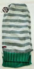 "men's Toby & Me knit scarf gray stripe green ends 8"" wide 72"" long acrylic"