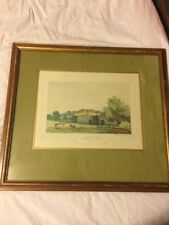 Original Antique 1846 Color Lithograph of Clifton Hall, Lancashire -JC Greenwood