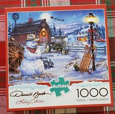 Buffalo Jigsaw Puzzle Darrell Bush HOLIDAY COLLECTION 1000 Piece Farm Snowman