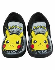 Pokemon Pikachu Slippers Graffiti Face Kid's Grey Marl Loafer House Shoes