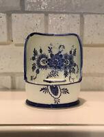 Vintage Delft Style Blue White Ceramic Candle Holder Folk Art W/ Flowers Handle
